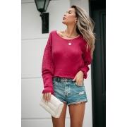 Blusa Camily Vera Tricot Manga Rendada Longa Pink