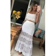 Blusa Cropped Natalia Vera tricot Alças Rendado Feminino Branco