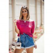 Blusa Cropped Vera Tricot Feminino Pink