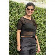 Blusa Cropped Vera Tricot Feminino Preto