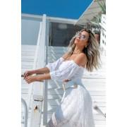 Blusa Azaleia Cropped Vera Tricot Feminino Princesa Manga Rendada Branco