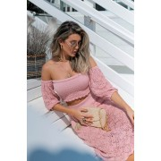 Blusa Azaleia Cropped Vera Tricot Feminino Princesa Manga Rendada Rosa