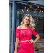 Blusa Cropped Vera Tricot Ombro a Ombro Manga Curta Feminino Pink