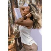 Blusa Dalia Regata Modal Decote V Vera Tricot Feminino Off White