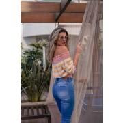 Blusa Girassol Vera Tricot Feminino Top Franzido Listrado Salmão / Amarelo / Azul Claro