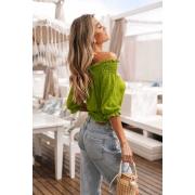 Blusa Laura Ciganinha Flor Vera Tricot  - Verde