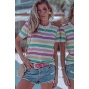 Blusa Modal Listrada Lurex Tricot Feminino Branco / Verde / Amarelo / Rosa