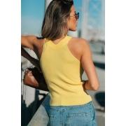 Blusa Regata Modal Cordão Tricot Estela - Amarelo