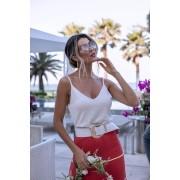 Blusa Regata Cropped Violetas Decote V Tricot Feminino Off