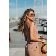 Blusa Regata Dalia Decote V Tricot Feminino Café com Leite