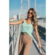 Blusa Regata Dalia Decote V Tricot Feminino Verde Menta