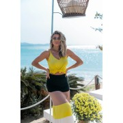 Blusa Dalia Regata Modal Decote V Vera Tricot Feminino Amarelo