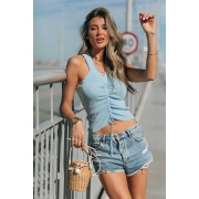 Blusa Regata Modal Cordão Tricot Estela - Azul
