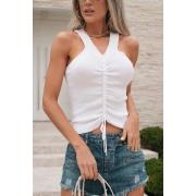 Blusa Regata Modal Cordão Tricot Estela - Branco