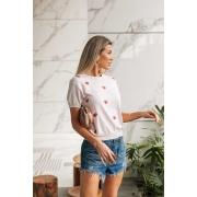 Blusa T-shirt  Lauana Coração Vera Tricot - Rosa