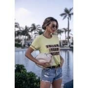 Blusa T-shirt  Lírio Modal Frases Manga Curta Tricot Feminino Amarela