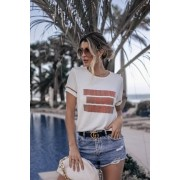 Blusa T-shirt Lírio Modal Frases Manga Curta Tricot Feminino Off