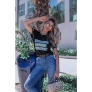 Blusa T-shirt Lírio Modal Frases Manga Curta Tricot Feminino Preta