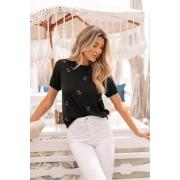 Blusa T-shirt  Naomi Cereja Vera Tricot - Preto