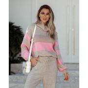 Blusa Valentina Vera Tricot Gola Listrada Alta Areia/Rosa Chiclete/Bege