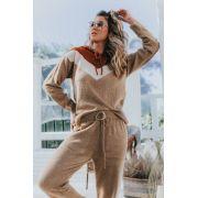 Blusa Vera Tricot Com Capuz Bege / Areia / Caramelo