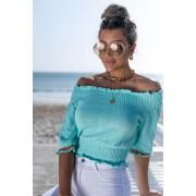 Blusa Girassol Vera Tricot Feminino Cropped Franzido Azul / Laranja