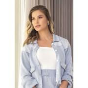 Blusa Vera Tricot Feminino Top Decote Quadrado Branco