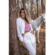 Blusa Virginia Vera Tricot Feminino Cropped Rendado Na Barrra Branco / Rosa