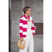 Casaco Lila Vera Tricot Londres Feminino Listrado Pink / Branco