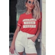 Conjunto Lírio Short + T-Shirt Coral / Off