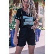 Conjunto Lírio short + T-Shirt Preto
