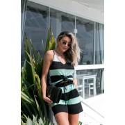 Conjunto Iris Listrado Shorts + Regata Preto / Verde Água