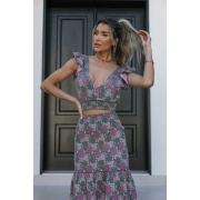 Conjunto Tricot Shakira - Estampa Floral Cinza
