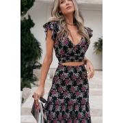 Conjunto Tricot Shakira - Estampa Floral Preto
