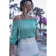 Conjunto Vera Tricot Lavanda Saia + Blusa Verde