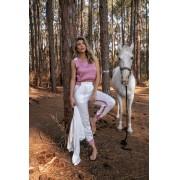 Conjunto Virginia Casaco + Cropped + Calça Feminino Branco / Rosa