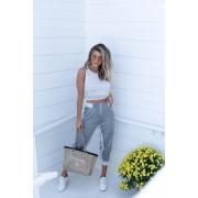 Conjunto Virginia Vera Tricot Blusa Cropped + Calça Cinza e Branco