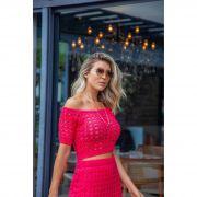 Saia Curta Franjas + Cropped Pink Vera Tricot