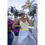 Saia Estrelícia Vera Tricot Modal Midi Listrada Litras Colors Off