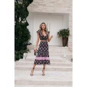 Saia Tricot Shakira - Estampa Floral Preto