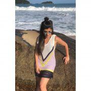 Saída De Praia Curta Vera Tricot Listras em V Feminina Marinho / Amarelo / Lilás