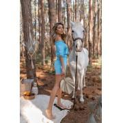 Shorts Girassol Vera Tricot Feminino Com Bolso Azul / Laranja