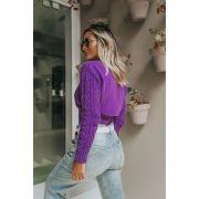Blusa Cropped Vera Tricot Feminino Roxo