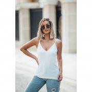 Blusa Regata Modal Decote V Vera Tricot Feminino Branco