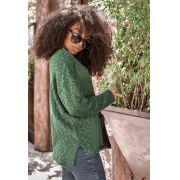 Blusa Vera Tricot Decote V Feminino Verde