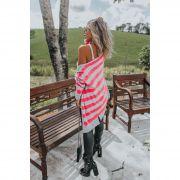 Casaco Vera Tricot Listrado Feminino Pink Neon / Cinza