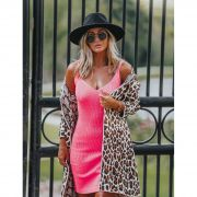 Tricô Vestido Vera Tricot Decote V Feminino Pink Neon