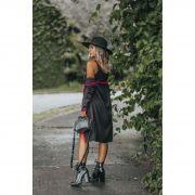 Tricô Vestido Vera Tricot Decote V Feminino Preto