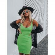 Tricô Vestido Vera Tricot Decote V Feminino Verde Neon