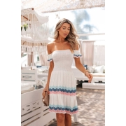 Vestido Ciganinha Ágatha Vera Tricot - Rosa / Azul / Off White